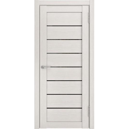 Межкомнатные двери ЛУ-7 беленый дуб (черное стекло)