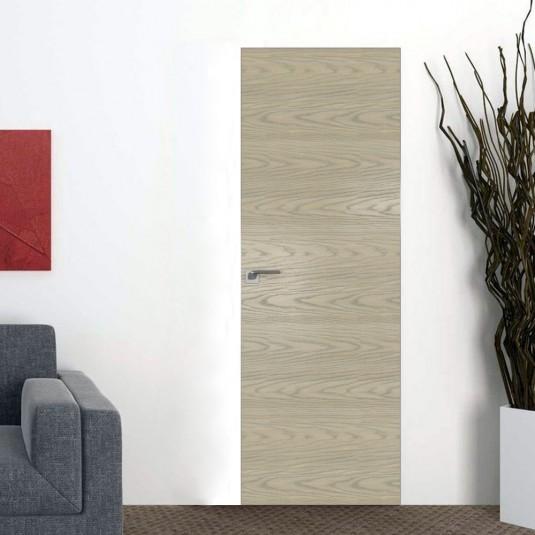 Скрытая дверь 1NK дуб скай крем с алюминиевой кромкой и внешним открыванием