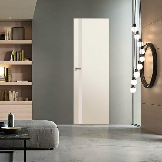 Скрытая дверь 6E магнолия сатинат с алюминиевой кромкой и внешним открыванием