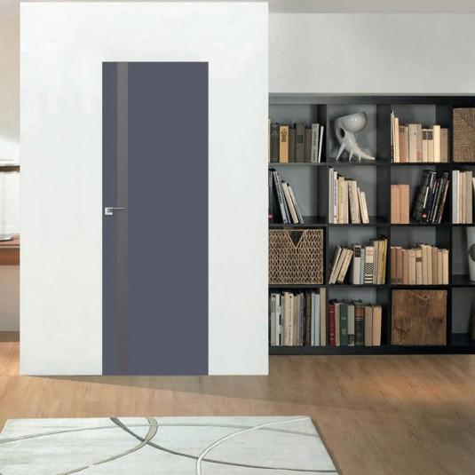 Скрытая дверь 6E антрацит с алюминиевой кромкой и внешним открыванием
