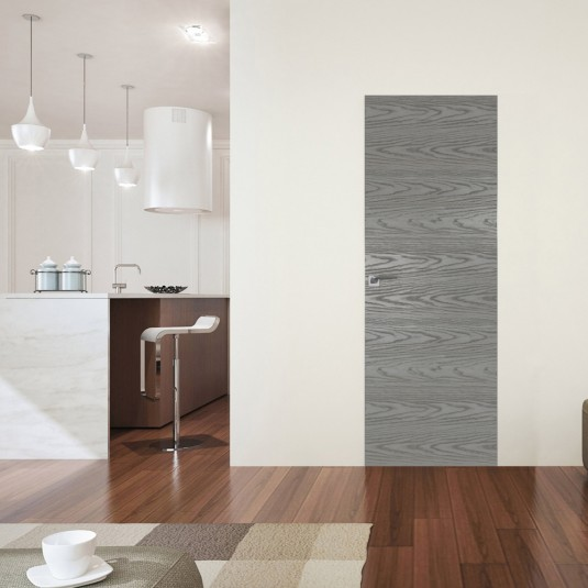 Межкомнатная скрытая дверь 41NK дуб скай деним с алюминиевой кромкой и внешним открыванием