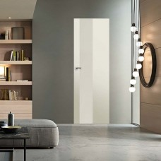 Скрытая дверь 5E магнолия сатинат с алюминиевой кромкой и внешним открыванием