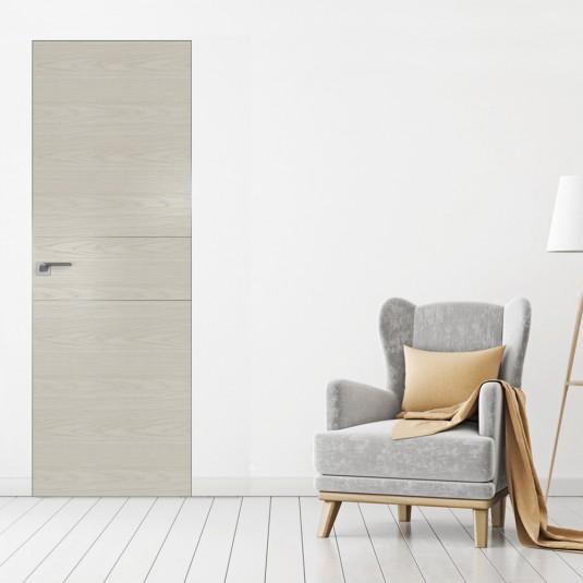 Скрытая дверь 41NK дуб скай белёный с алюминиевой кромкой и внешним открыванием