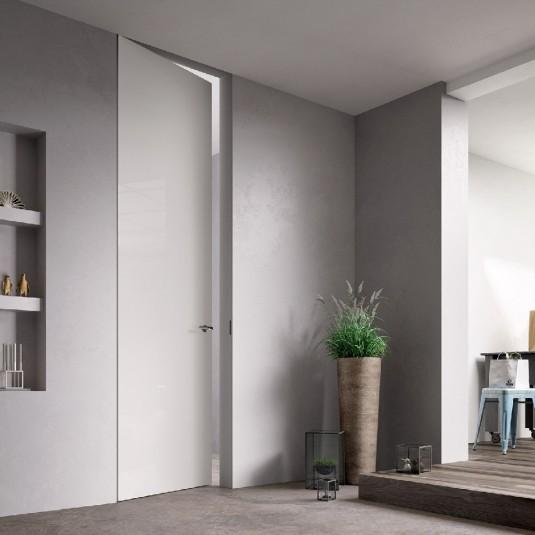 Скрытая дверь под окраску 0Z Invisible Revers с алюминиевой кромкой с внутренним открыванием