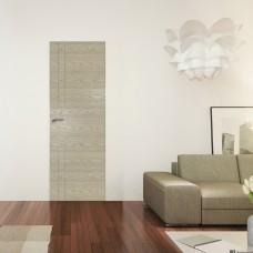 Скрытая дверь 42NK дуб скай крем с алюминиевой кромкой и внешним открыванием