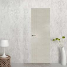 Скрытая дверь 42NK дуб скай белёный с алюминиевой кромкой и внешним открыванием