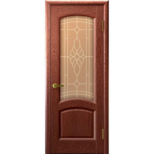 Межкомнатные двери Лаура (красное дерево, стекло)