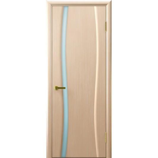 Межкомнатные двери Клеопатра 1 (беленый дуб стекло белое)