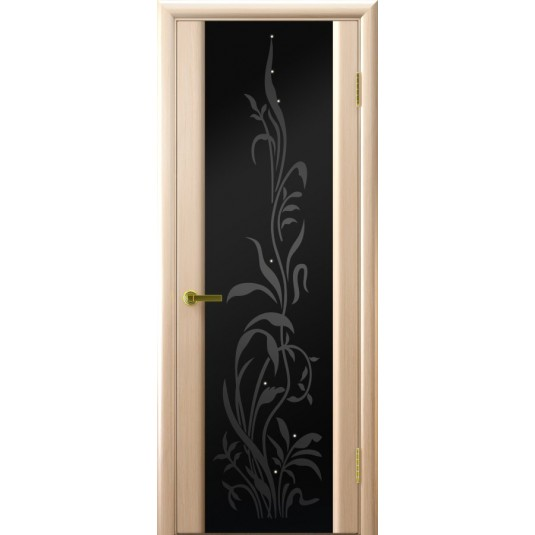 Межкомнатные двери Трава 2 (Беленый дуб, стекло)