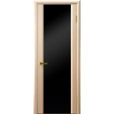 Межкомнатные двери СИНАЙ 3 (белый дуб, стекло черное)