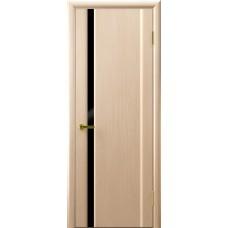 Двери СИНАЙ 1 (белый дуб, стекло черное)