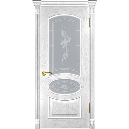 Межкомнатная дверь шпонированная Luxor Грация дуб белая эмаль остеклённая