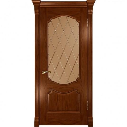 Межкомнатная дверь шпон Luxor Венеция дуб сандал остеклённая