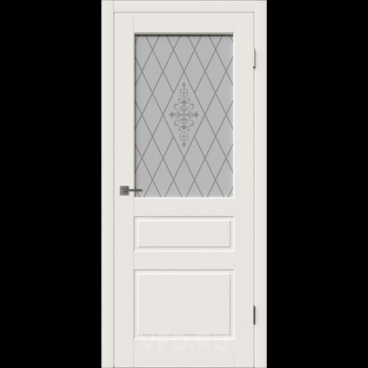 Дверь ВФД Зимняя коллекция Честер 15ДО01 эмаль слоновая кость стекло матовые полосы