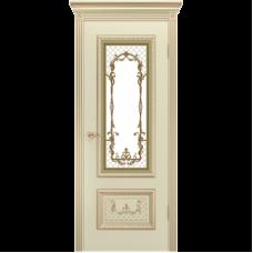 Дверь BP-DOORS Дуэт R B3 ДО2 Эмаль Слоновая кость с золотой патиной