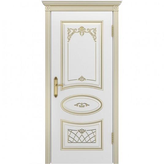Дверь BP-DOORS Ария В3 ДГ Эмаль Слоновая кость патина золото