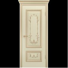 Дверь BP-DOORS Дуэт R B3 ДГ Эмаль Слоновая кость с золотой патиной