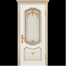 Дверь BP-DOORS Соло В3 ДО2 Эмаль белая патина золото