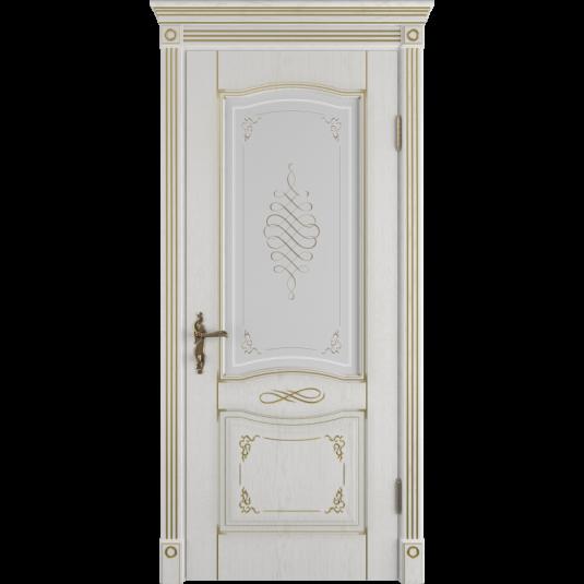 Дверь ВФД Classic Art Vesta Bianco Classic с золотой патиной стекло сатин. белое