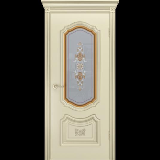 Дверь BP-DOORS Соло R-0 B3 ДО2 Эмаль Шампань патина Белое золото