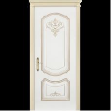 Дверь BP-DOORS Соло Грейс B4 ДГ Эмаль Белая патина белое золото