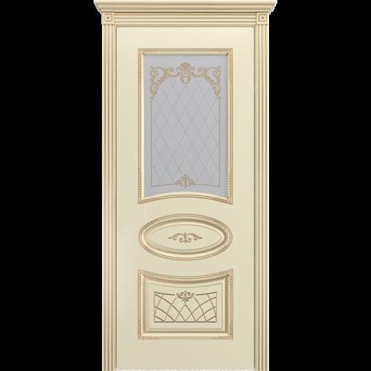 Дверь BP-DOORS Ария В3 ДО2 Эмаль Слоновая кость патина золото