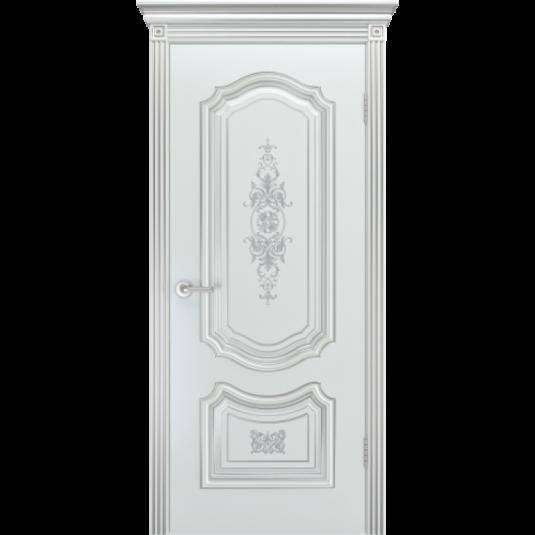 Дверь BP-DOORS Соло R-0 B3 ДГ Эмаль Белая патина серебро